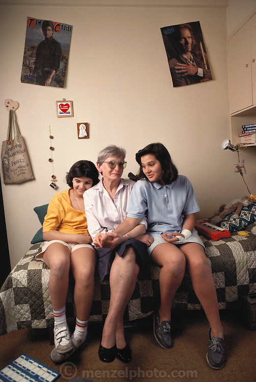 (1992) Maria Jose Lavalle Lemos, Haydee Lemos and Maria Lemos are a family that has been reunited by DNA fingerprinting in Buenos Aires, Argentina.  Maria Jose Lavalle-Lemos was born in captivity in 1977 taken by the nurse who helped deliver the baby.  Her father was killed in prison, and her mother was reportedly thrown from an airplane (from her stretcher) into the river Platte the day after the birth.  Her sister, Maria, was left on the street in a basket with her name five days after her parents were taken.  The sister was returned to the family. DNA Fingerprinting.  MODEL RELEASED