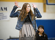 Sawyer Lucas-Griffin jokes with a mostly student audience during the Jackson Hole Middle School spelling bee on Friday, winning the competition and a trip to the state spelling bee in Rock Springs on March 7.