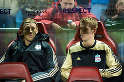 MADRID, SPAIN - Wednesday, October 22, 2008: Liverpool's substitutes Stephen Darby and Lucas Leiva during the UEFA Champions League Group D match against Club Atletico de Madrid at the Vicente Calderon. (Photo by David Rawcliffe/Propaganda)