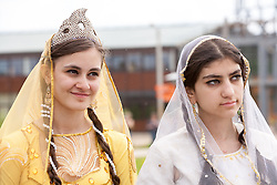 stock photo of to ladies in traditional attire