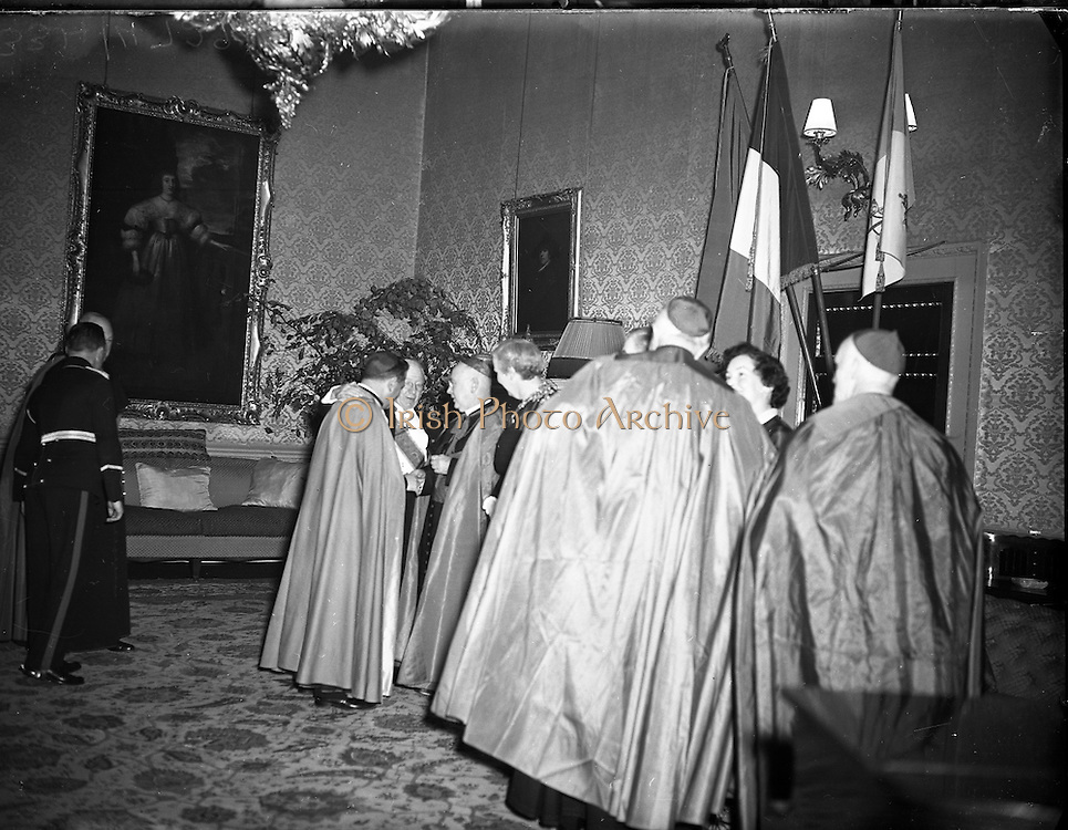 ardinal Spellman receives Honorary Degree from National University of Ireland at Iveagh House, Dublin<br /> 28/10/1953  <br /> <br /> Francis Joseph, Cardinal Spellman (04/05/1889—02/12/1967) was an American prelate of the Roman Catholic Church. He was the sixth Archbishop of New York from 1939 to 1967, having previously served as an auxiliary bishop of the Archdiocese of Boston (1932–39). He was created a cardinal in 1946.<br /> <br /> Francis Spellman was born in Whitman, Massachusetts, to William and Ellen (née Conway) Spellman. His father (1858–1957), whose own parents had immigrated to the United States from Clonmel and Leighlinbridge in Ireland, worked in shoemaking before becoming a grocer. The eldest of five children, Francis had two brothers, Martin and John, and two sisters, Marian and Helene.