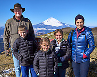 Family Portrait with Snow covered Mount Fuji on a very clear but cold day from Mount Komagatake in Fuji Hakone Izu National Park.  Image taken with a Leica T camera and 23 mm lens (ISO 100, 23 mm, f/14, 1/125 sec).