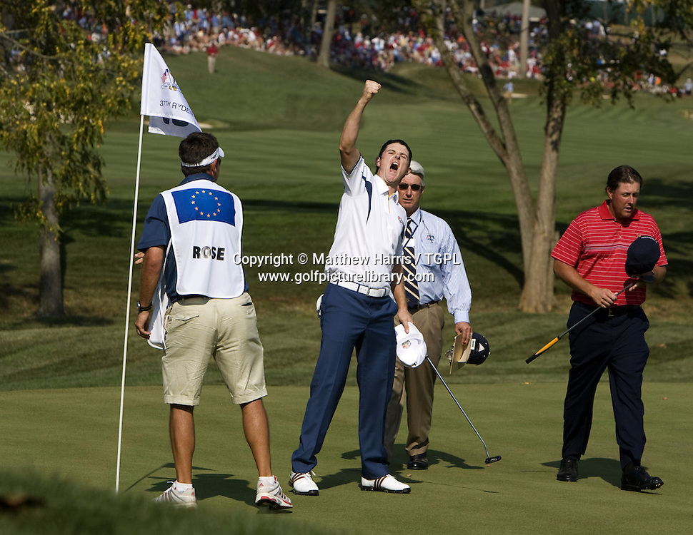 Justin ROSE (EUR) beats Phil MICKLESON (USA) during Singles 2008 Ryder Cup Matches, Valhalla, Louisville, Kentucky, USA.