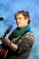 Sam Clark, Australian actor, singer-songwriter from Adelaide, Australia and played Ringo Brown in the Australian soap Neighbours performs at Meadowhalls Christmas lights switch on concert in Sheffield on Thursday evening 3 November 2011. Image © Paul David Drabble