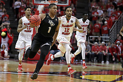 20 March 2017:  B.J. Taylor gets a break during a College NIT (National Invitational Tournament) 2nd round mens basketball game between the UCF (University of Central Florida) Knights and Illinois State Redbirds in  Redbird Arena, Normal IL