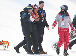 Sweden's Mans Hedberg lies injured after a heavy fall in run 2 of qualification for Men's Snowboard Slopestyle the PyeongChang 2018 Winter Olympic Games in South Korea.