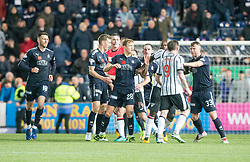 Falkirk's Aaron Muirhead at Dunfermline's Declan McManus (9) after he had taclkled Dean Shiels, before McManus gets involved and gets a red card. Falkirk 1 v 1 Dunfermline, Scottish Championship game played 4/5/2017 at The Falkirk Stadium.