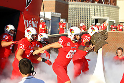 03 September 2016: Blake Hooper, Bryce Holm and Reece Attard takes the field.  NCAA FCS Football game between Valparaiso Crusaders and Illinois State Redbirds at Hancock Stadium in Normal IL (Photo by Alan Look)