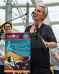 Actor Sue Devaney presents a tribute event in memory of Victoria Wood. Held at Manchester Victoria Station, the station was renamed Victoria Wood Station for the duration of the event.<br /> <br /> (c) John Baguley   Edinburgh Elite media