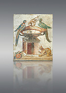 Roman mosaic of drinking birds from Santa Maria Capua Vetere, ancient Capua, inv no 9992, Naples Archaeological Musum, Italy.<br /> <br /> If you prefer to buy from our ALAMY PHOTO LIBRARY  Collection visit : https://www.alamy.com/portfolio/paul-williams-funkystock/roman-mosaic.html - Type -   Naples    - into the LOWER SEARCH WITHIN GALLERY box. Refine search by adding background colour, place, museum etc<br /> <br /> Visit our ROMAN MOSAIC PHOTO COLLECTIONS for more photos to download  as wall art prints https://funkystock.photoshelter.com/gallery-collection/Roman-Mosaics-Art-Pictures-Images/C0000LcfNel7FpLI