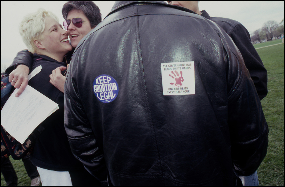 Catherine Hund and Jill Harris of ACT UP attend NOW's April 1989 March for Women's Lives.