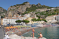 GV, general view, Amalfi, Italy, seafront, promenade, bathers, sun worshippers, September, 2015, 201509161626<br /> <br /> Copyright Image from Victor Patterson, 54 Dorchester Park, Belfast, UK, BT9 6RJ<br /> <br /> t1: +44 28 9066 1296<br /> t2: +44 28 9002 2446<br /> m: +44 7802 353836<br /> e: victorpatterson@me.com<br /> <br /> www.victorpatterson.com<br /> <br /> IMPORTANT: Please see my Terms and Conditions of Use at www.victorpatterson.com