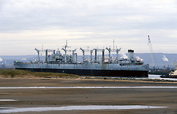 US Caloosahatchee berthing at Able Yard; Hartlepool, Ghost ship with hazardous chemicals for salvage in Teesside Nov 2003 UK