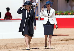 © Licensed to London News Pictures. 12/07/2017. London, UK. British Home Secretary AMANDA RUDD and British Prime Minister THERESA MAY attend the Ceremonial Welcome at Horse Guards Parade for His Majesty King Felipe VI of Spain and Her Majesty Queen Letizia during a three day State visit. Photo credit: Ray Tang/LNP