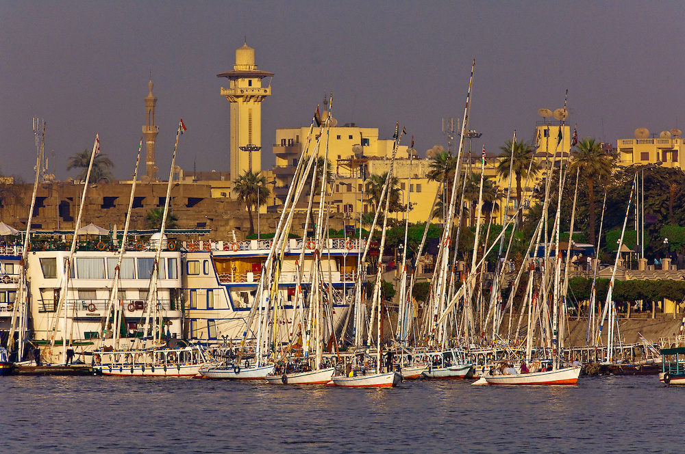 Cruise ships docked on the Nile River in Luxor, Egypt