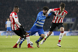 (L-R) Joshua Brenet of PSV, Youness Mokhtar of PEC Zwolle, Marco van Ginkel of PSV during the Dutch Eredivisie match between PSV Eindhoven and PEC Zwolle at the Phillips stadium on February 03, 2018 in Eindhoven, The Netherlands