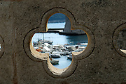 Quatrefoil opening in bridge wall near Vrata od Ploca entrance to Dubrovnik old town, Croatia