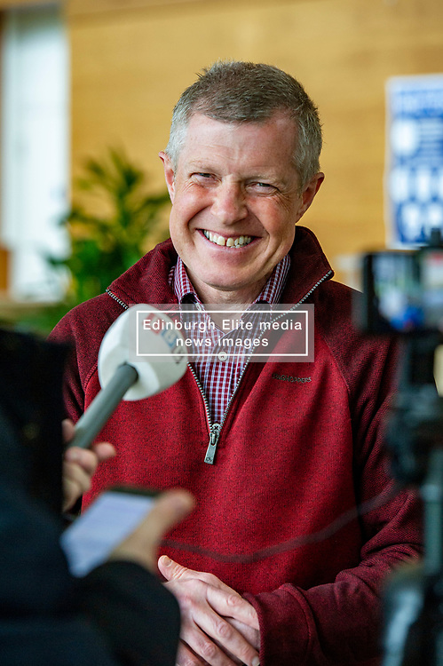 Pictured: <br />Scottish Liberal Democrat Leader Willie Rennie took the opportunity of visiting a food bank at Royal Bank of Scotland's Gogarburn Conference Centre to outline his party's plans for adult social care.<br />Ger Harley   EEm 20 April 2021