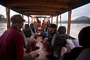 Boat trip back from the Thousand Buddha Caves on the Mekong River, Luang Prabang, Laos...