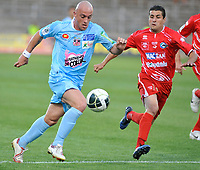 FOOTBALL - FRENCH CHAMPIONSHIP 2010/2011 - L2 - NIMES OLYMPIQUE v AC AJACCIO - 27/05/2011 - PHOTO SYLVAIN THOMAS / DPPI - JEAN FRANCOIS RIVIERE (AJA) / NICOLAS BENEZET (NIM)