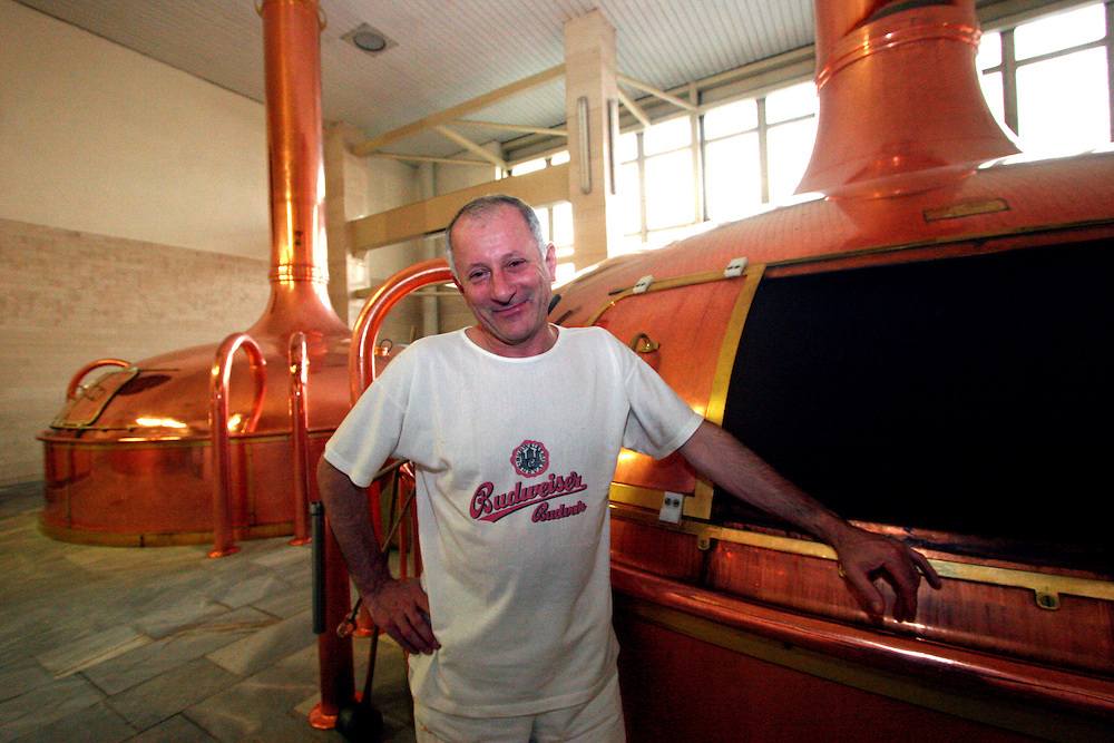 Ceske Budejovice/Czech Republic, CZE, 12.12.06: Employee of the brew house. The brew house is aptly named. This is where the beer is produced. Or rather, this is where the foundations of the beer are laid, using high quality water, select Moravian malt and the finest Zatec hops ? a special strain harvested relatively early in the season from the unique red soils of Zatec. The mixing of these ingredients results in something called hopped wort. Wort is the name given to an infusion of malt before it is fermented into beer.