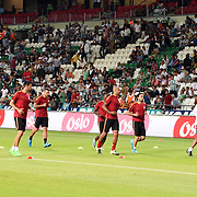 Galatasaray's (L-R) Umut Bulut, Hakan Balta, Lukas Podolski, Felipe Melo, Carole, Selcuk Inan, Sneijder, Chedjou, Burak Yilmaz, Sabri Sarioglu during their Turkish Super League soccer match Torku Konyaspor between Galatasaray at the Konya Buyuksehir Belediyesi Torku Arena at Selcuklu in Konya Turkey on Saturday, 29 August 2015. Photo by TVPN/TURKPIX