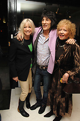 Left to right, RONNIE & JO WOOD and her mother RACHEL KARSLAKE at an exhibition of artist Paul Karslake's work entitled Ideas & Idols, held at Scream, 34 Bruton Street, London W1 on 21st February 2008.<br /><br />NON EXCLUSIVE - WORLD RIGHTS
