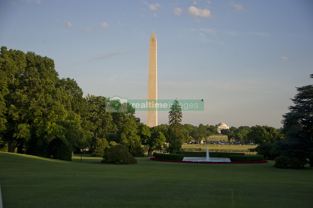 June 26, 2017 - Washington, District of Columbia, United States of America - Very high resolution photo of the Washington Monument and Jefferson Memorial in late summer evening light about an hour before sunset from the South Lawn of the White House in Washington, DC on Monday, June 26, 2017..Credit: Ron Sachs / CNP (Credit Image: © Ron Sachs/CNP via ZUMA Wire)
