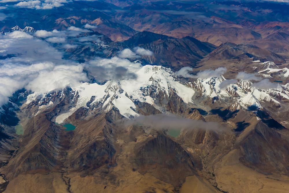 Aerial view of the Tibetan Plateau flying from Kathmandu, Nepal to Lhasa, Tibet (China).
