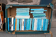 "Blue spined books outside Addyman Books booksellers in Hay-on-Wye or Y Gelli Gandryll in Welsh, known as ""the town of books"", is a small town in Powys, Wales famous for it's many second hand and specialist bookshops, although the number has declined sharply in recent years, many becoming general antique shops and similar."
