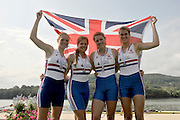Brive, FRANCE,  Silver medalist  GBR JW4-, Bow Amber ANDERSON, Olivia CARNEGIE-BROWN, Caragh MCMURTRY and Brianna STUBBS.   Junior Women's Four  at 'Lac du Causse', venue for the 2009 FISA Junior World Rowing Championships,  Brive La GAILLARDE. Saturday  08/08/2009 [Mandatory Credit. Peter Spurrier/Intersport Images]