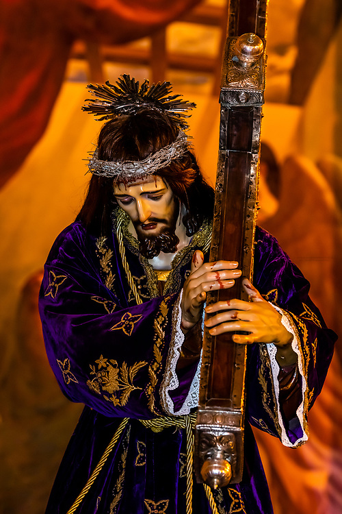 Jesus Christ carrying the cross, a paso (float) for Holy Week (Semana Santa), Church of La Encarnacion,  in the hill top town of Montefrio, Granada Province, Andalusia, Spain.