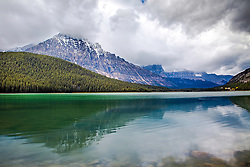 Stormy day at Lower Waterfoul Lake in Banff National Park.  Lower Waterfoul Lake is one of the many gems along the Icefields Parkway.