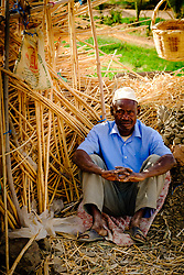 Portrait of a basket weaver photographed by the roadside in southern Morocco, North Africa<br /> <br /> (c) Andrew Wilson | Edinburgh Elite media