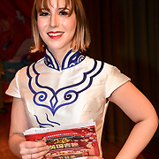 Presenter Katharina Kempf of the 2020 China-Britain Chinese New Year Extravaganza with 200 performers from over 20 art groups from both China and the UK showcase at Logan Hall on 18th January 2020, London, UK.