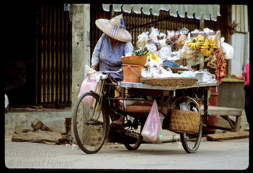 Women sells food from her tricycle grocery store that she pedals through the streets of Phuket. Thailand