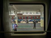 Station in Xian. Window view across China, from Hong Kong to Urumqi, Xinjiang.