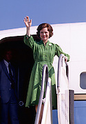 First Lady Rosalynn Carter leaving on a mission to South America - To license this image, click on the shopping cart below -