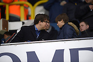 Comedian Michael McIntyre talking to his son Lucas McIntyre in the stand before k/o. Barclays Premier league match, Tottenham Hotspur v West Ham Utd at White Hart Lane in London on Sunday 22nd November 2015.<br /> pic by John Patrick Fletcher, Andrew Orchard sports photography.
