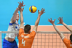 02-01-2020 SLO: Slovenia - Netherlands, Maribor<br /> Toncek Stern of Slovenia, Thijs Ter Horst #4 of Netherlands during friendly volleyball match between National Men teams of Slovenia and Netherlands