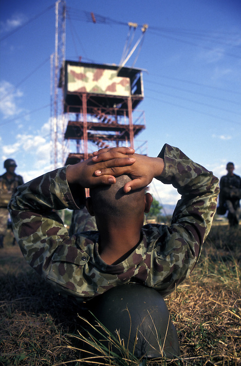 Parachute training for Colombia's elite army forces. Backed by the USA , these troops are tasked with fighting the front line of the War on Drugs,commando base, Tolemaida, Tolima, Colombia
