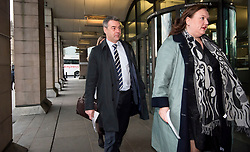 © Licensed to London News Pictures. 06/02/2018. London, UK. Former chief executive of Carillion RICHARD HOWSON (left) arrives at Portcullis house in London where former bosses of the outsourcing firm Carillion are due to give evidence to a Business, Energy and Industrial Strategy Committee and the Work and Pensions Committe. Carillion plc, a major government contractor, went in to administration in January 2018. Photo credit: Ben Cawthra/LNP