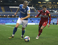 Middlesbrough's Marvin Johnson in action with  Birmingham City's Marc Roberts<br /> <br /> Photographer Mick Walker/CameraSport<br /> <br /> The EFL Sky Bet Championship - Birmingham City v Middlesbrough - Saturday 19th December 2020 - St Andrews - Birmingham<br /> <br /> World Copyright © 2020 CameraSport. All rights reserved. 43 Linden Ave. Countesthorpe. Leicester. England. LE8 5PG - Tel: +44 (0) 116 277 4147 - admin@camerasport.com - www.camerasport.com