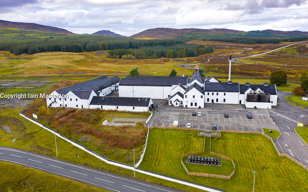 Aerial view of Dalwhinnie Distillery in Scottish Highlands, Scotland, UK