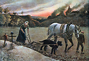 Women in the Fields' France 1915, World War I. Henri Laurent Mouren (1844-1926) French painter. Woman and boy ploughing with horse and dog harnessed together. Two graves marked by crosses, left. Hardship Agriculture
