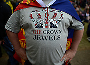 "© Licensed to London News Pictures. 05/06/2012. London, UK. A man wears a tshirt saying 'The Crown Jewels"" to watch the Jubilee Procession on the Mall today 5th June 2012.  The Royal Jubilee celebrations. Great Britain is celebrating the 60th  anniversary of the countries Monarch HRH Queen Elizabeth II accession to the throne this weekend Photo credit : Stephen Simpson/LNP"