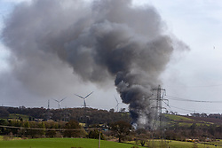 Emergency servises at the scene of a fire at Headswood Mill industrial estate, Denny