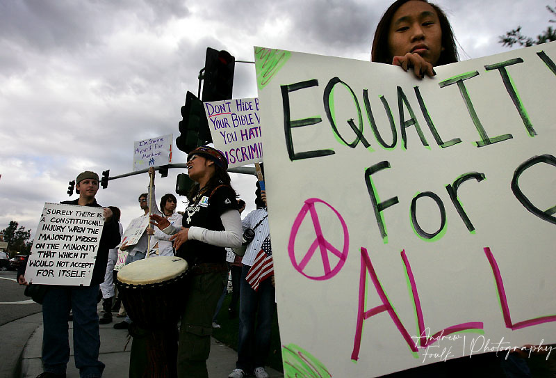 /Andrew Foulk/ For the Californian/.Around one hundred proposition eight protestors lined to streets of Temecula Sunday afternoon. For a peaceful march from the corner of Ynez rd and Winchester to the duck pond for a rally.