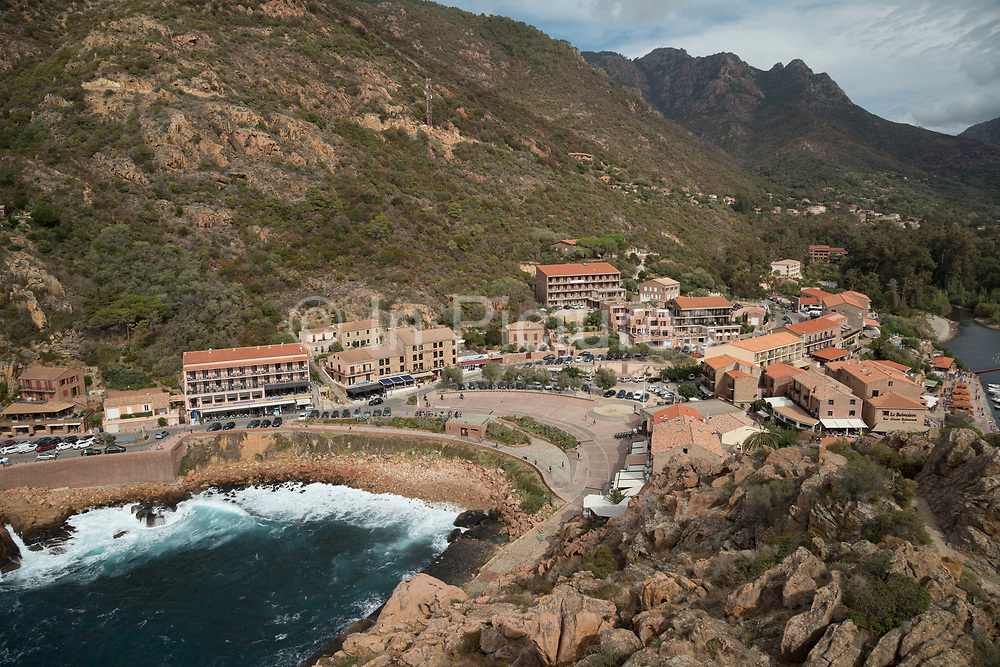 Porto is a west coast village overlooking the Golfe de Porto, a tourism destination built for that specific reason. It is essentially, a port for tourist boats to moor and leave from and a series of hotels, restaurants and attractions around the beach, Corsica, France.
