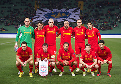 06.12.2012, Stadio Friuli, Udine, ITA, UEFA EL, Udinese Calcio vs FC Liverpool, Gruppe A, im Bild Liverpool's players line up for a team group photograph before Back row L-R: goalkeeper Jose Reina, 'Suso' Jesus Joaquin Fernandez Saenz De La Torre, Martin Skrtel, Jose Enrique, Jordan Henderson, Luis Alberto Suarez Diaz. Front row L-R: Stewart Downing, Jamie Carragher, Glen Johnson, Joe Allen, Nuri Sahin. during the UEFA Europa League group A match between Udinese Calcio and Liverpool FC at the Stadio Friuli, Udinese, Italy on 2012/12/06. EXPA Pictures © 2012, PhotoCredit: EXPA/ Propagandaphoto/ David Rawcliffe..***** ATTENTION - OUT OF ENG, GBR, UK *****